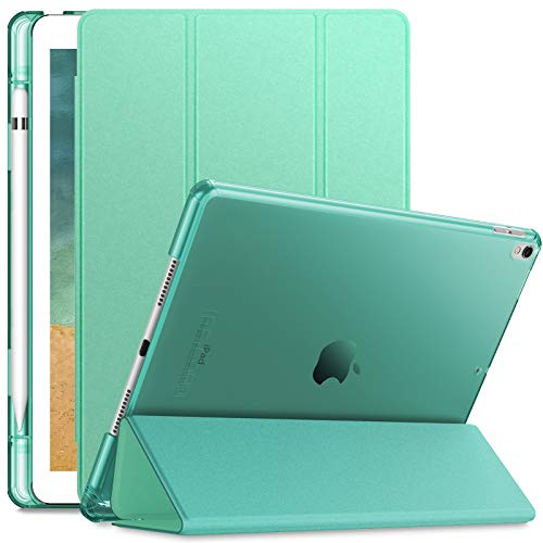 INFILAND Funda para iPad Air 3 10,5 (3ª Generación 2019)/iPad Pro 10,5 2017,Smart Translúcido Case Cascara con portaplumas y Auto Reposo/Activación Función,Menta Verde