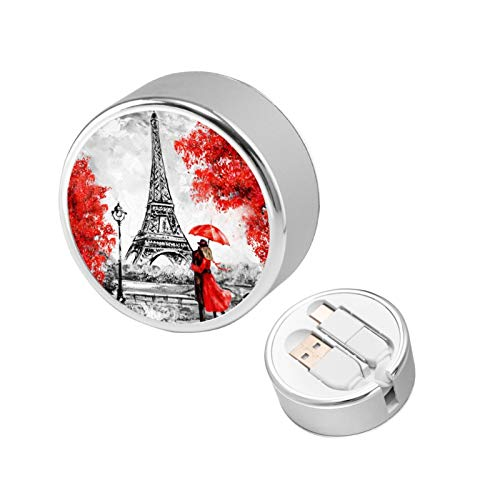 Oil Painting Paris European City Retractable Charging Cable 2 in 1 Connector Ports Compatible with Mobile Phones Tablets