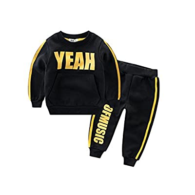CuteOn Kids Long Sleeve Pullover Sweatshirt Casual Sports Outerwear Sets With Pants