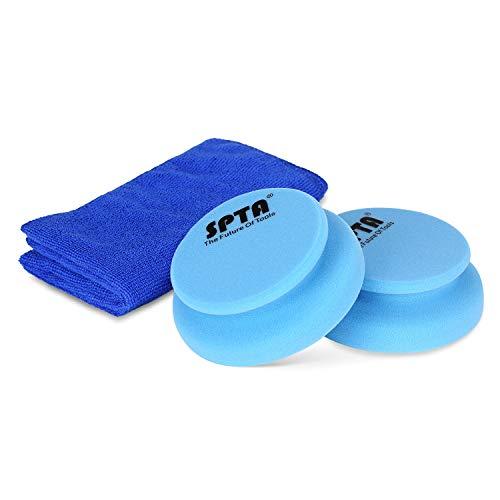 SPTA kit de almohadilla para pulir a mano, 2 Pcs 100 x 120 mm, aplicador, almohadillas de mano con manija circundante y toalla de microfibra de paño de limpieza de microfibra 1pc