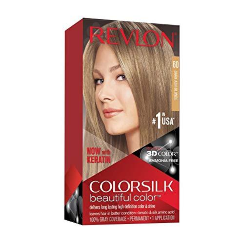 Revlon Colorsilk Beautiful Color Coloration Permanente des Cheveux avec Technologie au Gel 3D et Kératine, Teinture avec Couvrance à 100 % des Cheveux Blancs, 60 Blond cendré foncé