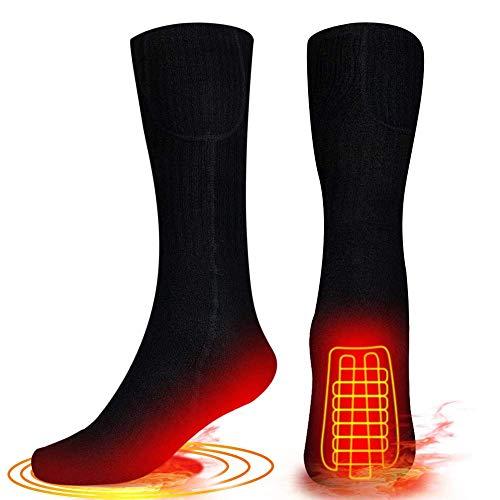 Calcetines térmicos para hombres y mujeres–Calentadores a pilas – Calcetines térmicos de invierno cálidos calcetines de algodón calcetines de calefacción eléctricos para deportes al aire libre camping