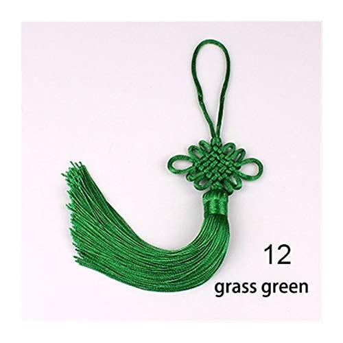 2pcs/lot 12cm Multicolor Chinese Knot Silk Tassel Brush Fringe Phone Satin Tassels Pendant Tassels For Crafts DIY Home Decor (Color : 12 grass green)