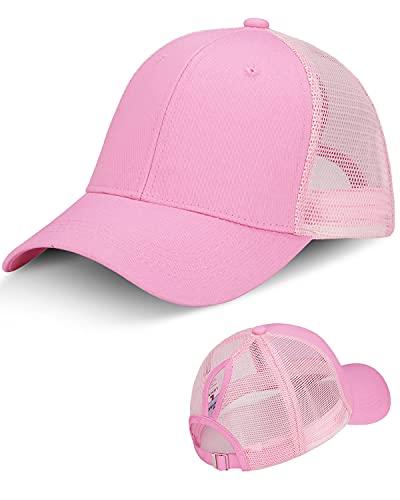 LIVACASA Cappello da Baseball Donna con Foro di Coda di Cavallo Berretto a Rete con Visiera Estivo Traspirante Regolabile per Sport Esterno Rosa