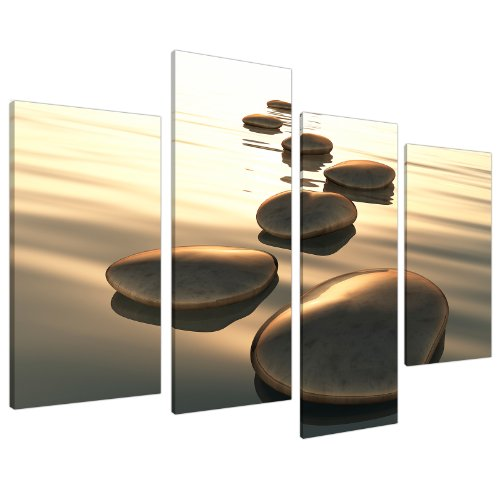 Brown Zen Canvas Wall Art Decor - Soothing Stones - Relaxing Framed Pictures for Bathroom Living Room or Bedroom - Set of 4 Panels - 130cm / 51' Wide