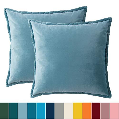 Bedsure Kissenhülle 40x40 Hellblau Doppelpack, Kissenbezug 40 x 40 cm aus samt Mikrofaser, dekorative Kissenbezüge 2er Set weich und atmungsaktiv