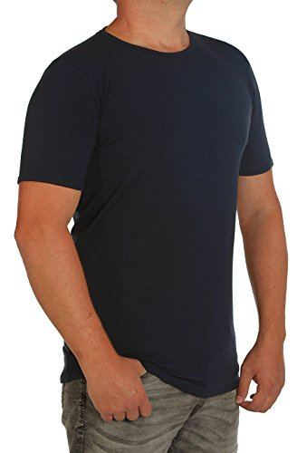 T-Shirt-Stretch K I T A R O -Rumpf EXTRALANG-Kurzarm mit Rundhals-in Extra lang (Extra Langer Rumpf aus 95% Baumwolle 5% Elasthan in 3 Farben (4XT, Marine)