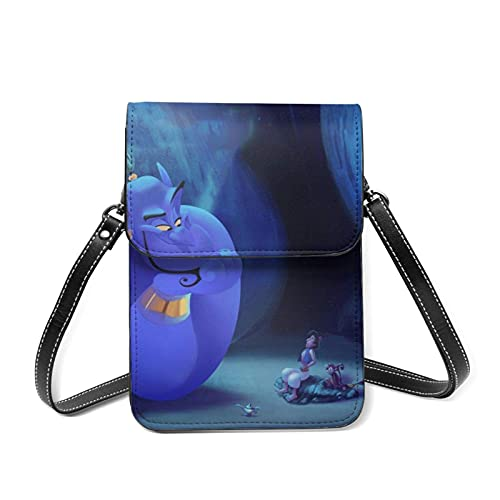 XCNGG Monedero pequeño para teléfono celular A-laddin Ma-gic Lamp Anime Movie Cell Phone Purse Small Crossbody Bag Women Leather Mini Cell Phone Pouch Shoulder Bag to Carry Dexterous Convenience with