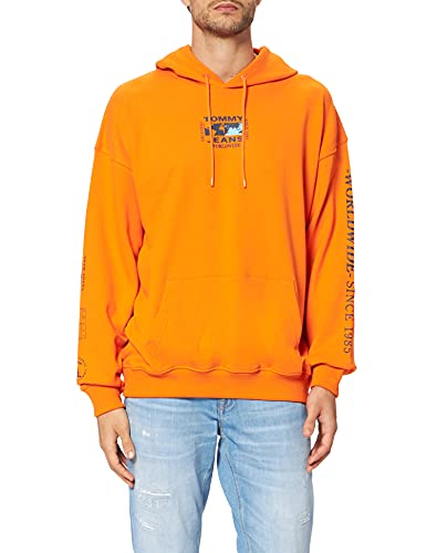 Tommy Jeans TJM Abstract Globe Hoodie Sudadera con Capucha, Magnetic Orange, M Hombres