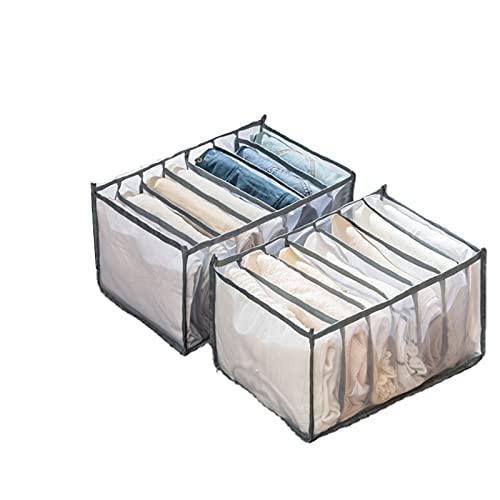 Paquete de 2 organizadores de cajones para ropa interior, 7 celdas plegables separadores de armario caja de almacenamiento para sujetador, faldas, camisetas y calcetines (gris, L (36 x 25 x 20 cm)