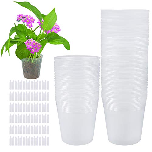 Elcoho 120 Pack 4 Inch Plant Nursery Pots Transparent Plastic Gardening Pot Soft Seed Starting Pot Flower Plant Container with Drainage Hole for Seedling Succulent Vegetable Flowers