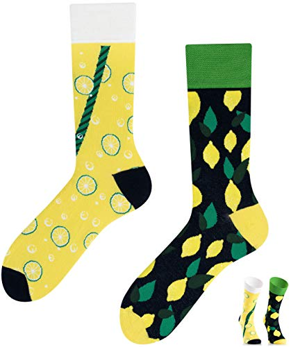 TODO COLOURS Casual Mix und Match Socken - Lemons - mehrfarbige, verrückte, bunte Socken (39-42, Lemons)