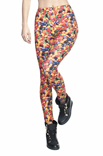 kukubird Printed Patterns Women's Yoga Leggings Gym Fitness Running Pilates Tights Skinny Pants 8 to 12 Stretchable - Candy
