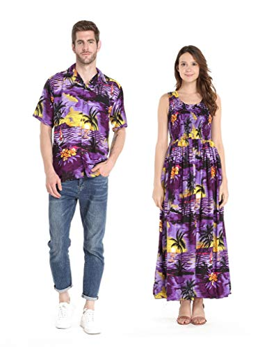 Couple Matching Hawaiian Shirt and Maxi Tank Dress