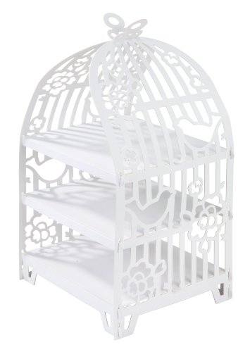 Talking Tables Something In The Air Cage à Oiseau Présentoir à Gâteaux pour Mariage et Goûter Festif, Blanc