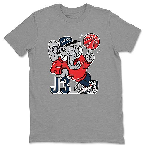AJ3 Elephant Heather Grey T-Shirt Jordan 3 True Blue Shoe Outfit - AJ3 Match Top (Heather Grey/X-Large)