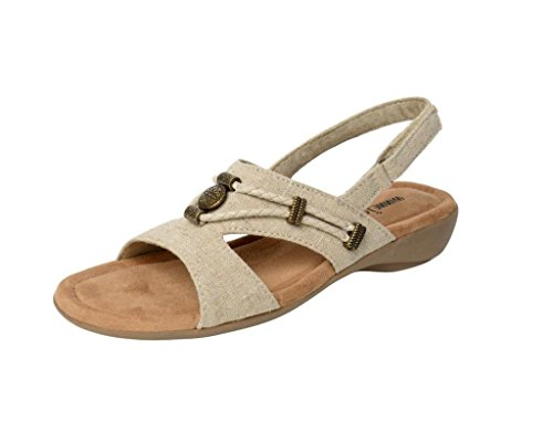 Minnetonka Womens Sylvia Sandal, Natural Linen, Size 9