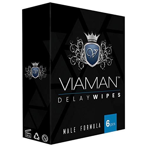 Viaman Delay Wipes - Ejakulation Verzögerung für Männer, Länger durchhalten, Sex Verlängerung & mehr Power, Vorzeitiger Samenerguss verhindern - 6 Pack Intim Tücher zum Verzögern für den Mann