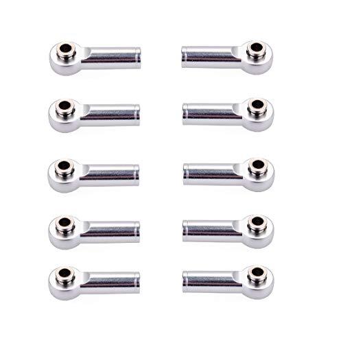 10 piezas M4 de metal para rótula de rótula para 1/8 y 1/10 RC, accesorio de coche y remolque, color plateado