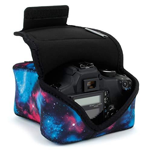 USA Gear Funda para Cámara DSLR con Protección de Neopreno, Presilla para Cinturón y Almacenamiento de Accesorios - Compatible con Nikon D3400, Canon EOS Rebel SL2, Pentax K-70 y más - Galaxia
