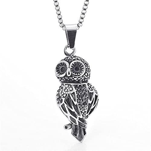YQMR Colgante Collar para Mujer,Collar De Mujer Grabado En Plata Diseño Clásico Búho Animal Punk Colgante Amuleto Joyería Regalo para Mamá Cumpleaños Aniversario De Boda
