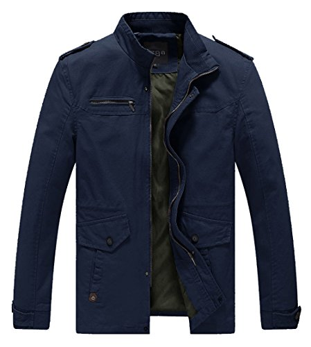 Vcansion Men's Winter Cotton Fleece Lined Windproof Jacket Outerwear Classic Jacket Coat Black US XXL