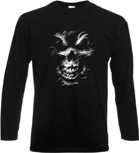 Unheimlicher Gothic Longsleeve, Langarmshirt mit Totenkopf! Silver Skull Originelles Geschenk! Größe L Farbe schwarz