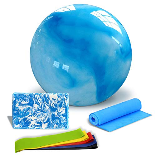 PINGO Yoga Set Kit (8-pcs) Dazzling Blue, 1 Yoga Blocks,1resistance Bands,1 BPA-Free 65cm Exercise Ball(Free Air Pump), 5-Fitness Bands, Practical Yoga Set for Starter and Experienced yogis…