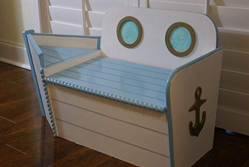 Handcrafted Wood toy chest with boat shape painted blue,Boat Toy box,Toy Storage for Nautical Nursery, Boat shaped bench for playroom, Imagination Toy, Kids Bedroom seat, FREE SHIPPING