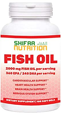 Halal Omega 3 Fish Oil Softgels | 2000mg, 50 Servings | Includes EPA & DHA | Supports Heart, Cardiovascular, Nervous System & Brain Health, and Body Fat Management | Halal Vitamins | SHIFAA NUTRITION