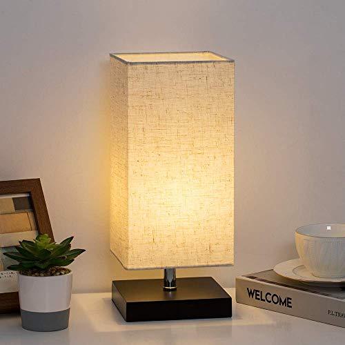 Lámpara de noche Lámpara de noche moderna con pantalla de tela cuadrada para dormitorio, sala de estar, guardería