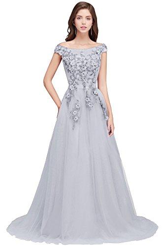 MisShow Damen Traumhaft Brautjungfernkleid tüll glitze Kleid für Hochzeit mit 3D Blumen Bodenlang...