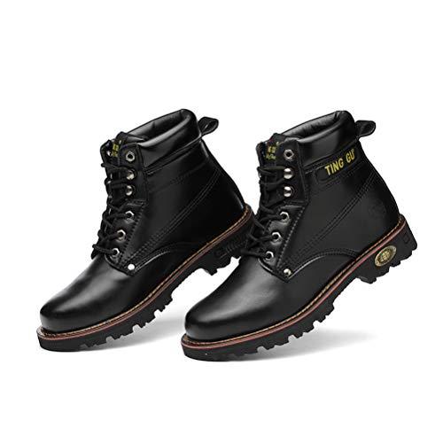 [GX GLOBAL] 安全靴 作業靴 中編上 マーティン ブーツ オートバイ靴 防滑 防水 紐タイプ 先芯入 メンズ 防水安全シューズ ハイカット 安全スニーカー ひも式 セーフティーシューズ つまさき保護 ブラック 45