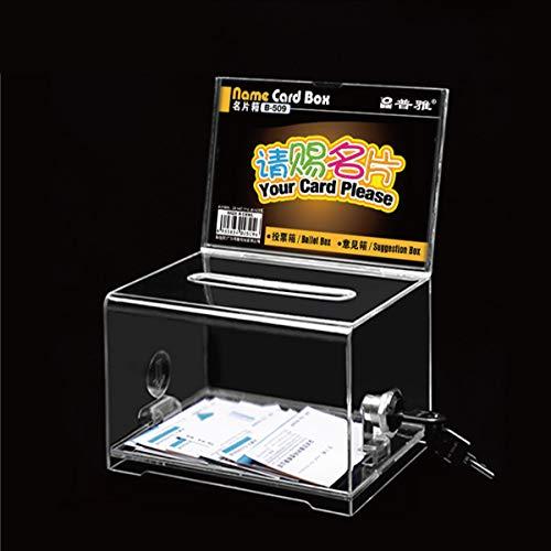 Urna de donación de acrílico con sugerencia de espacio de bloqueo/marco de negocio/tarjeta con signo y candado