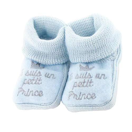 NOSBEBES® Chaussons bébé idée Cadeau bébé maternité ou idée Annonce de Grossesse (Bleu-PSS) 0-3 Mois Etroit