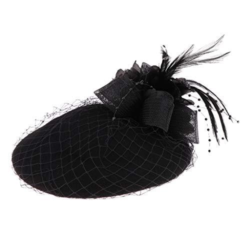 Baoblaze Damen Fascinator Hut Pillbox Hut Blumen Feder Britischer Bowler Mütze Kappe für Party Hochzeit Tea-Party - Schwarz
