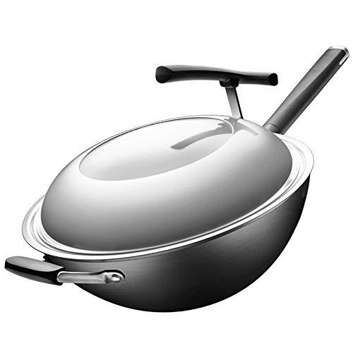 Rghfn 34CM Fine Iron nieuwe, derde generatie Whirlpool Wok Gezonde Ongecoate Koken Pan Whirlpool Spitse Bottom, 360 ° Whole Body Nitriding Rust kan niet Rust, Antiroest Non-roest Round Pot (13,4 inch)