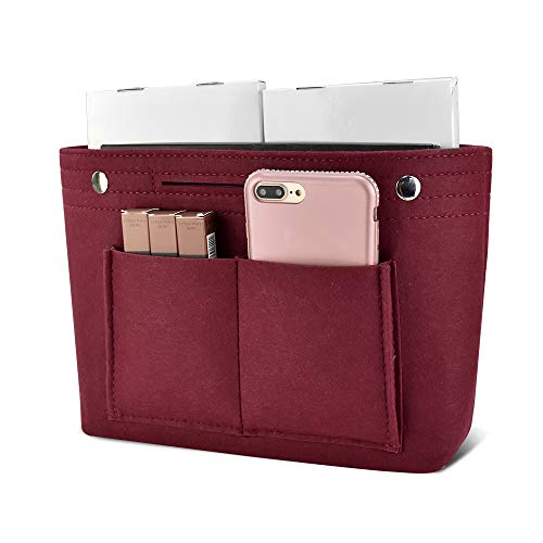 Newseego バッグインバッグ フェルト インナーバッグ 軽量 バッグ ポーチ バッグの中を整理整頓 バックインバッグ 多機能 メンズ レディース Bag in Bag (M)ワインレッド