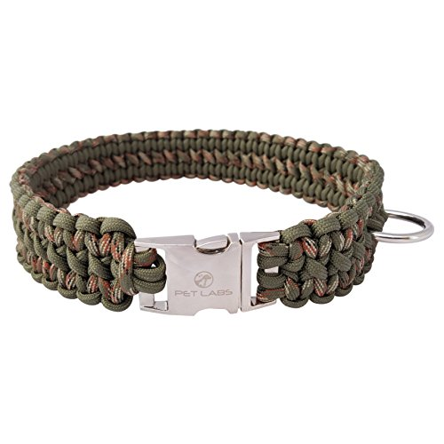 Pet Labs Paracord Dog Collar Army Green and Army Green Camo