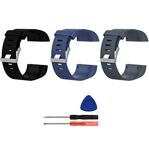 TenYun for Fitbit Surge Bands, New Adjustable Soft TPU Bracelet 3D Lines Strap Small&Large Replacement Bands for Fitbit Surge Watch WatchBand Wristband &Tool (L-Size:6.3''X7.8'',Black+Gray+Dblue)