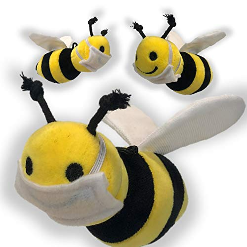 Set of 3 Plush Soft Stuffed Toy Honey Bumble Bees with Removable Masks