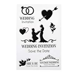 【No Harm Material】Made of Silicone, No harm to your skin, Safe for you and your little kids to use. 【Reusable and Durable】This Wedding Invitation Clear Silicone Stamp Seal can be used repeatedly, Easy to clean with water. 【Portable Size】The size is 1...