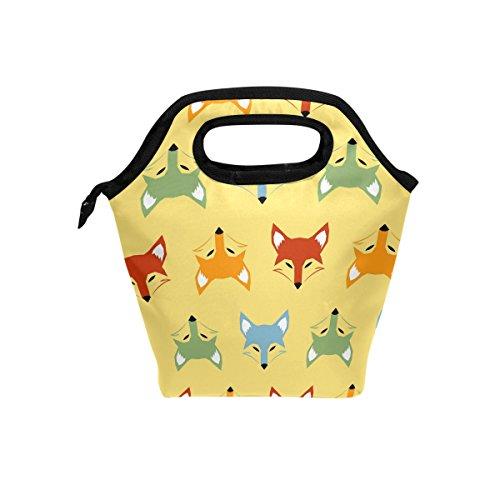 Lianchenyi coloré Fox Têtes Fermeture Éclair Sacs repas isotherme Boîte à lunch pour l'école Portable repas Sacs à main à nourriture Sac pour pique-nique