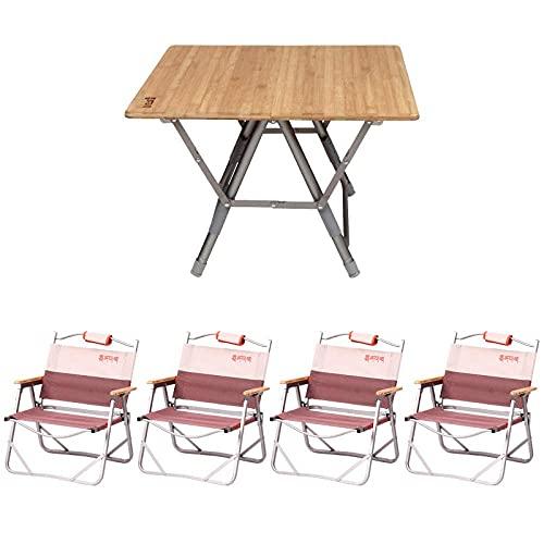 XKUN Mesa Plegable para Acampar Mesa para Acampar Al Aire Libre de Aluminio Portátil de Bambú Original,Traje de Cinco Piezas