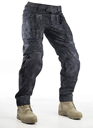 Survival Tactical Gear Pants with Knee Pads Hunting Paintball Airsoft BDU Military Camo Combat Trousers for Men (Typhon Camo, S)