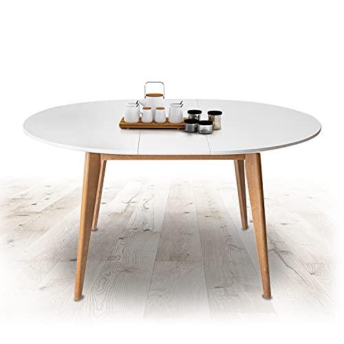 Küchentisch Ausziehbar Esszimmertisch Esstisch Erweiterbare Auszugsplatte Ausziehtisch Tisch mit Einlegeplatte Massivholz für Esszimmer 1000 +300 x 1000 x 750 mm Modell Orion Plus