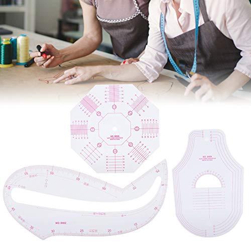 Regla de curva francesa, herramientas de costura Accesorios de regla de curva multifunción Herramienta de diseños de ropa para coser, corrección de graduación