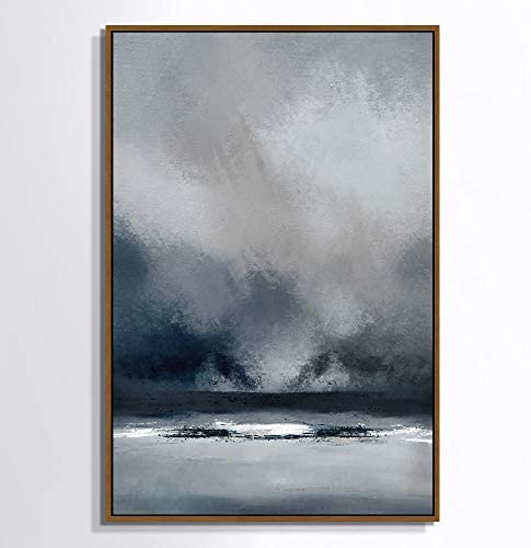 SIGNWIN Framed Canvas Wall Art Blue and Gray Duotone Print Abstract Brushstroke Oil Painting product image