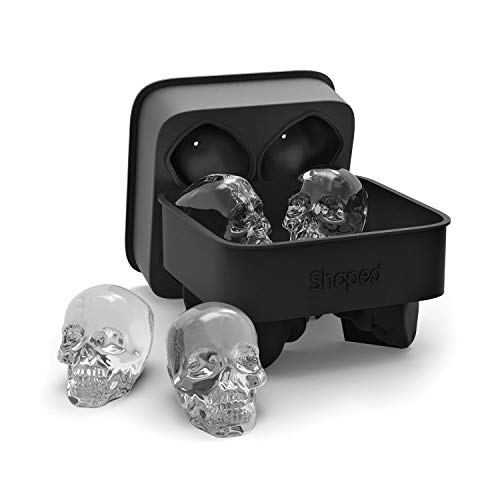 3D Skull Flexible Silicone Tray, Makes Four Giant Skulls, Round Ice Cube Maker, Black- Pack of 1