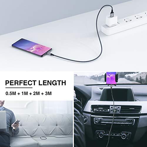USB Typ C Kabel, RAVIAD [4Pack 0.5M 1M 2M 3M] Nylon Typ C Ladekabel und Datenkabel USB C Schnellladekabel für Samsung Galaxy S10/S9/S8+, Huawei P30/P20, Google Pixel, Sony Xperia XZ, OnePlus 6T (Grau) - 6